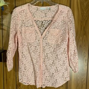 Nee York & Company Lace Button Up 3/4 Blush Pink